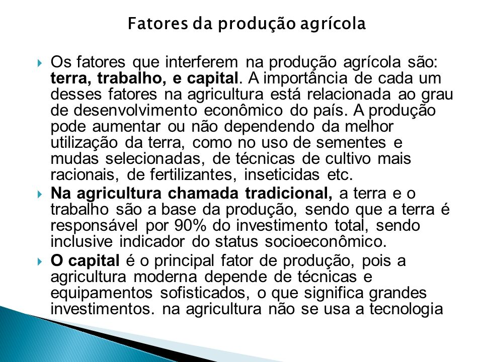 Fatores da produção agrícola