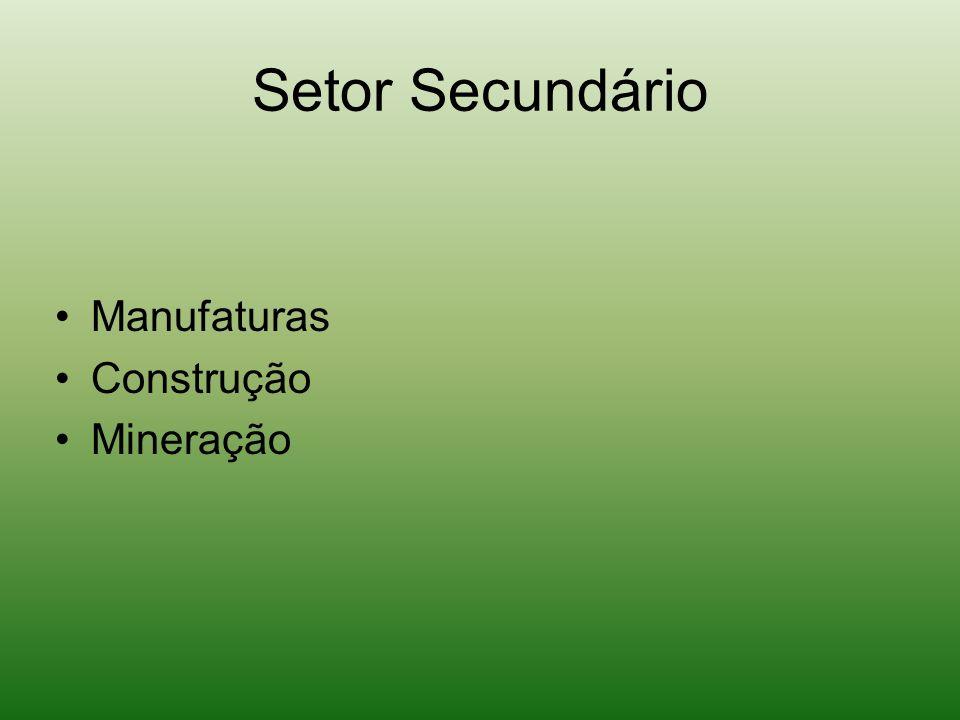 Setor Secundário Manufaturas Construção Mineração
