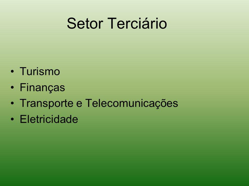 Setor Terciário Turismo Finanças Transporte e Telecomunicações