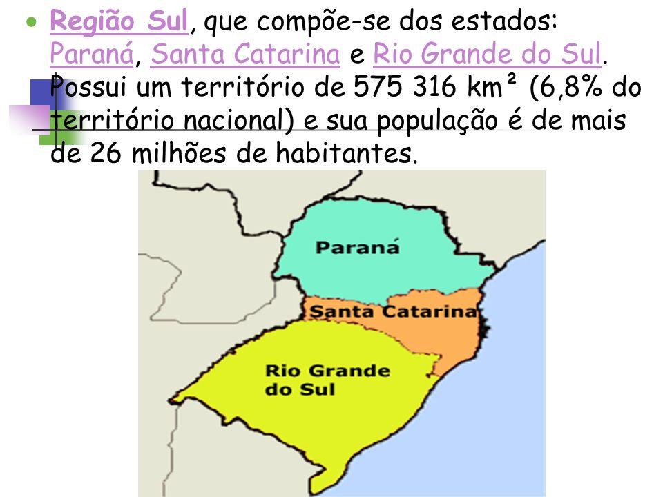 Região Sul, que compõe-se dos estados: Paraná, Santa Catarina e Rio Grande do Sul.