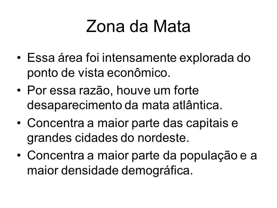 Zona da Mata Essa área foi intensamente explorada do ponto de vista econômico. Por essa razão, houve um forte desaparecimento da mata atlântica.