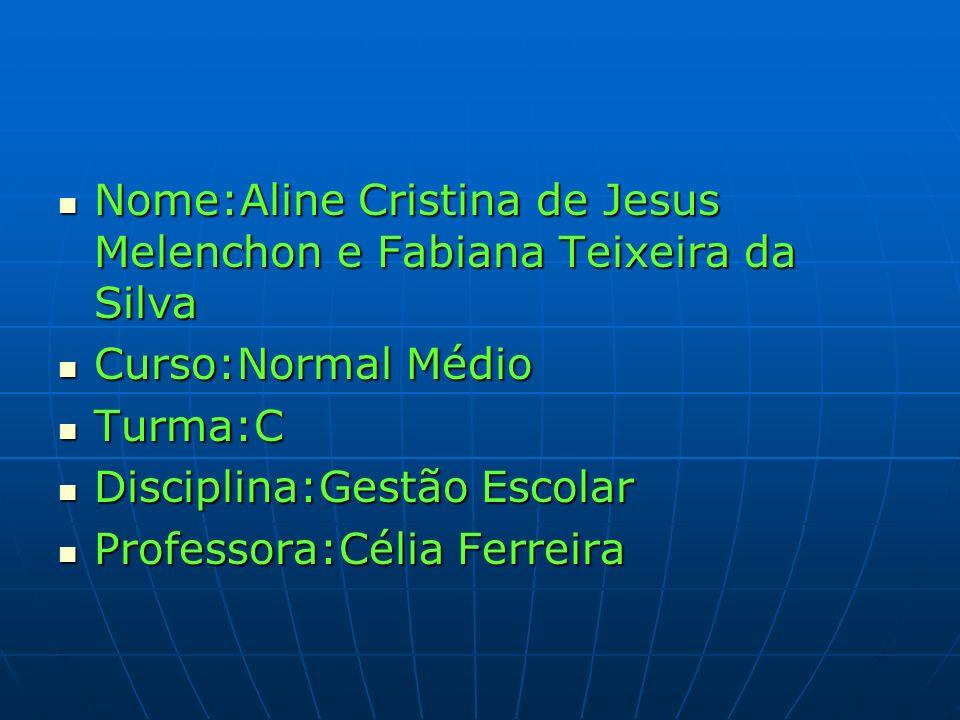 Nome:Aline Cristina de Jesus Melenchon e Fabiana Teixeira da Silva