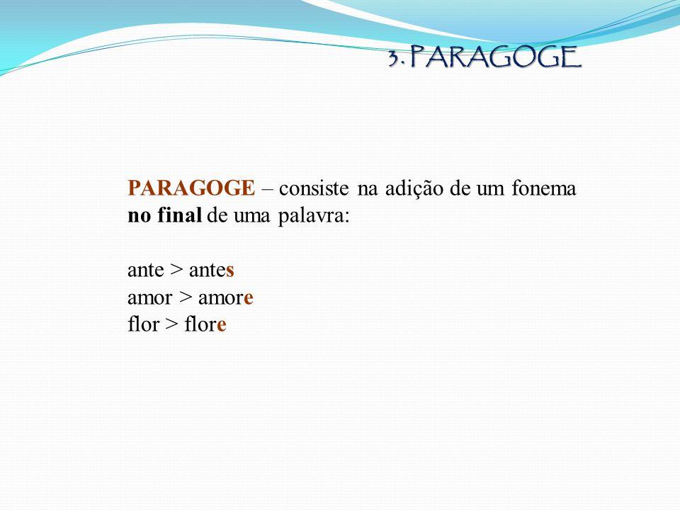 3. PARAGOGE PARAGOGE – consiste na adição de um fonema. no final de uma palavra: ante > antes. amor > amore.