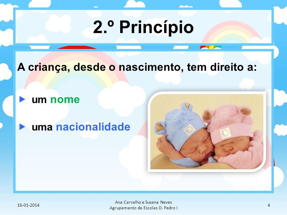 2.º Princípio A criança, desde o nascimento, tem direito a: um nome