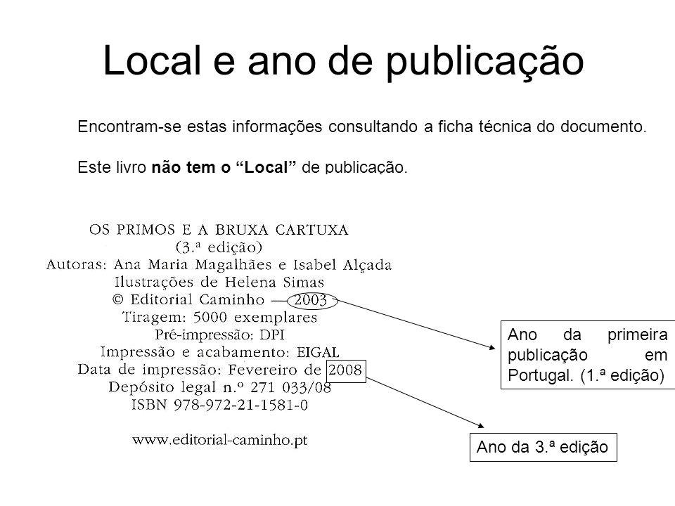 Local e ano de publicação