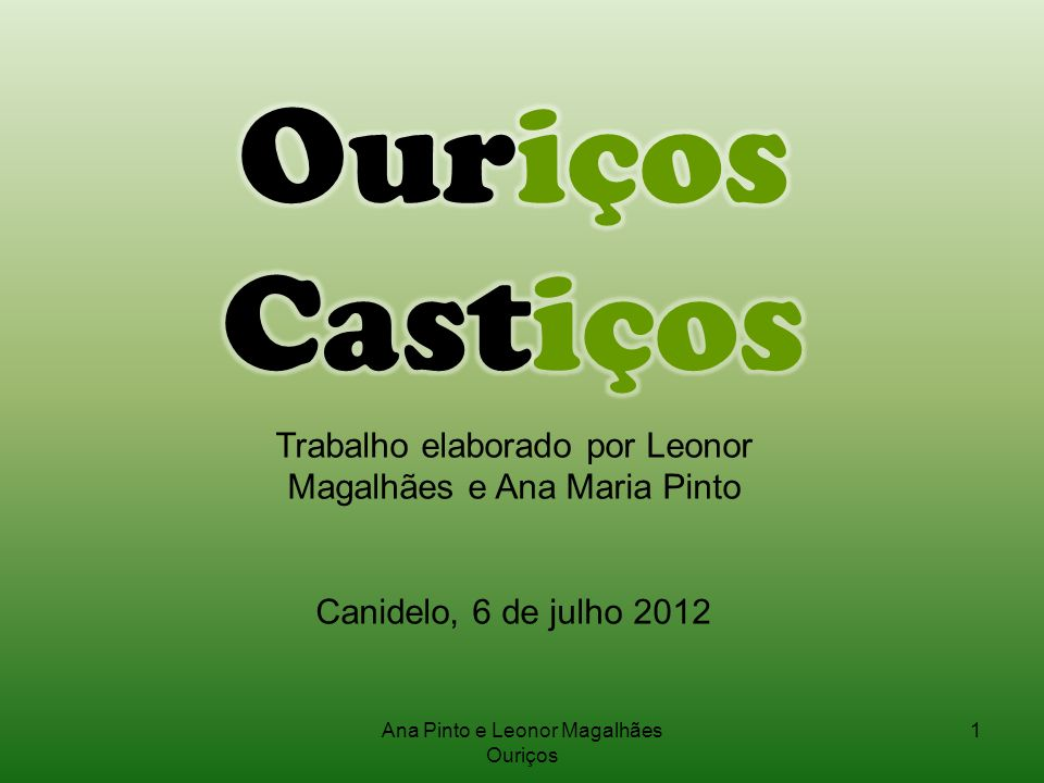 Ouriços CastiçosTrabalho elaborado por Leonor Magalhães e Ana Maria Pinto. Canidelo, 6 de julho 2012.