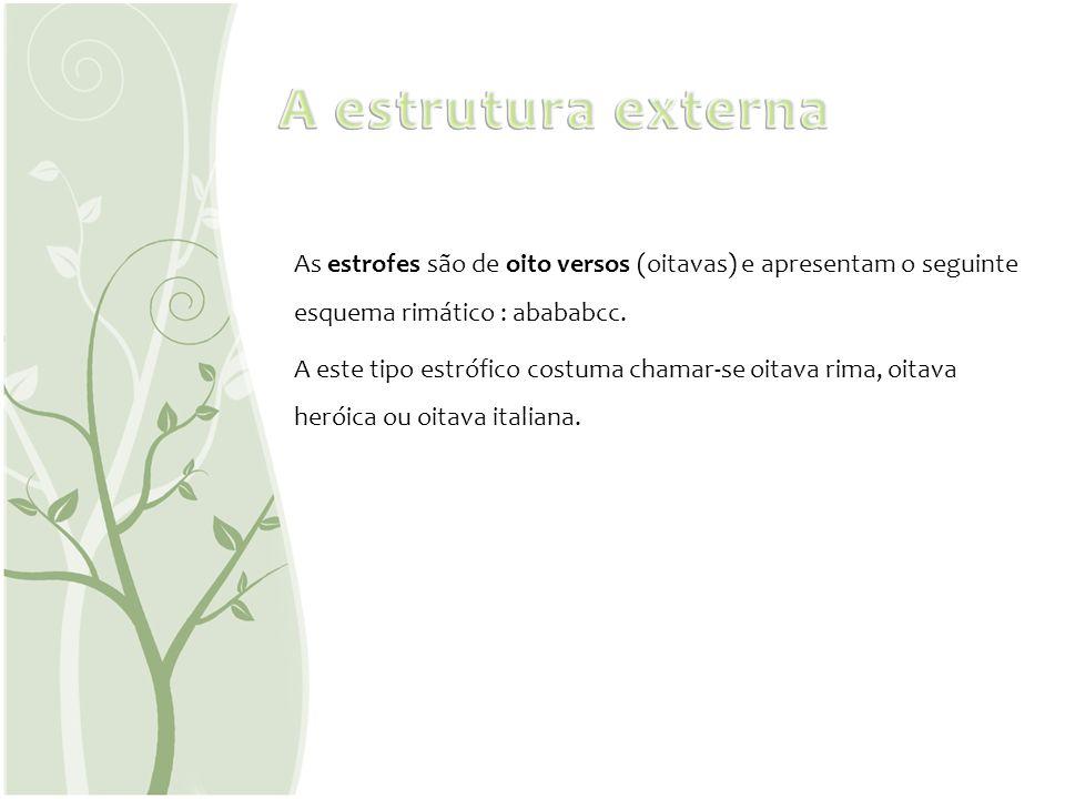 A estrutura externaAs estrofes são de oito versos (oitavas) e apresentam o seguinte esquema rimático : abababcc.