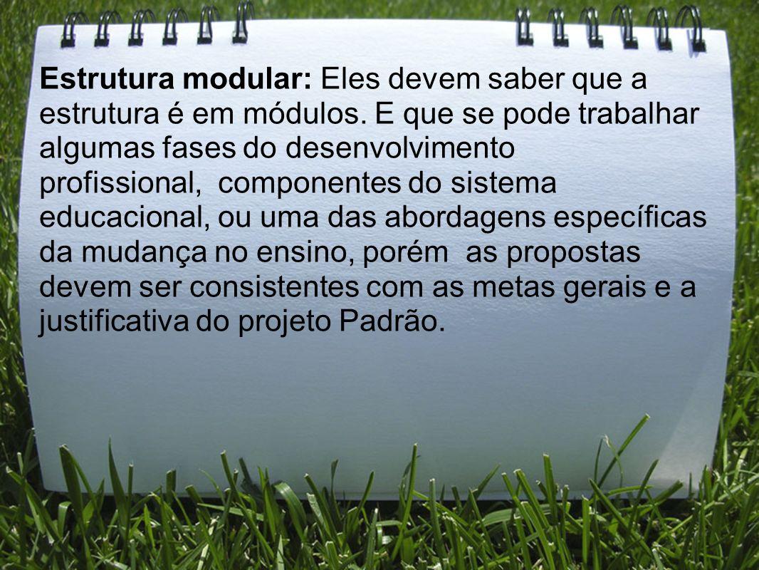 Estrutura modular: Eles devem saber que a estrutura é em módulos