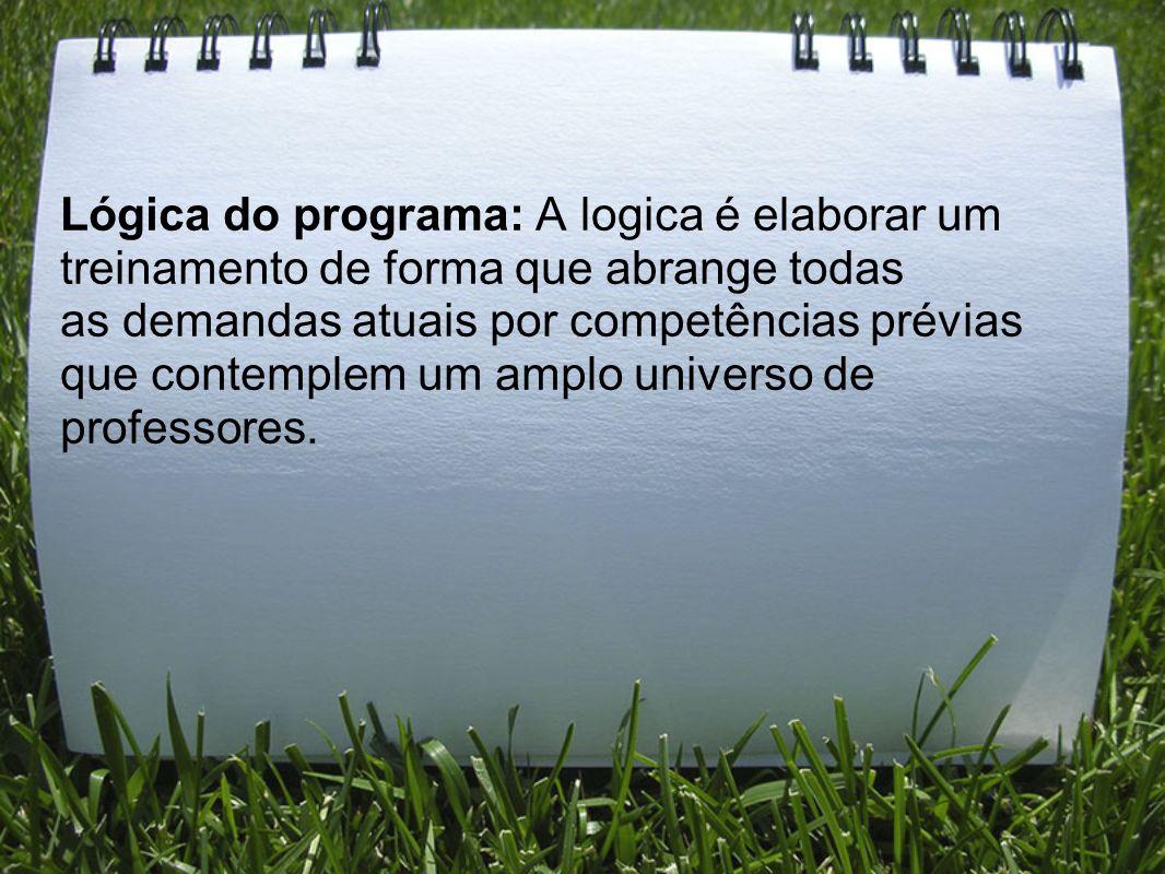 Lógica do programa: A logica é elaborar um treinamento de forma que abrange todas as demandas atuais por competências prévias que contemplem um amplo universo de professores.