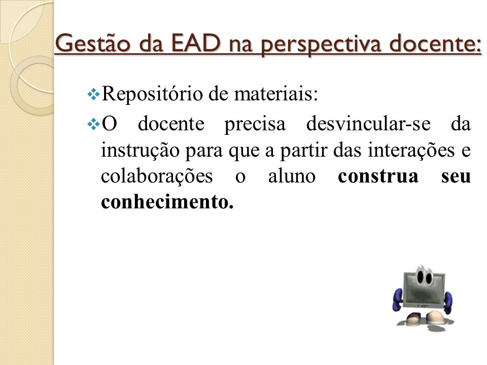 Gestão da EAD na perspectiva docente: