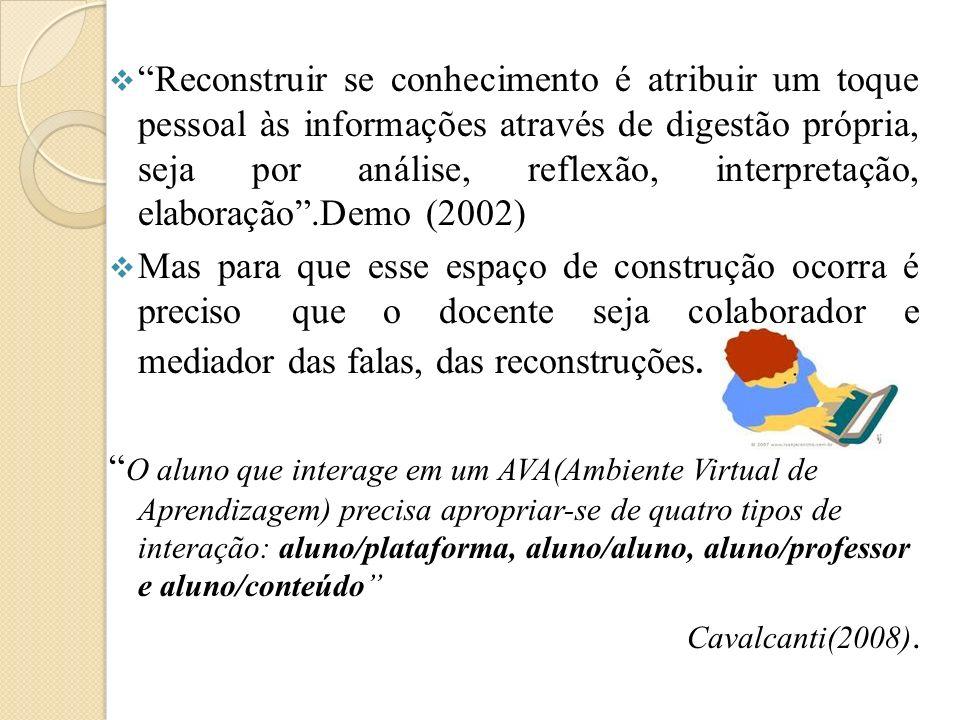 Reconstruir se conhecimento é atribuir um toque pessoal às informações através de digestão própria, seja por análise, reflexão, interpretação, elaboração .Demo (2002)