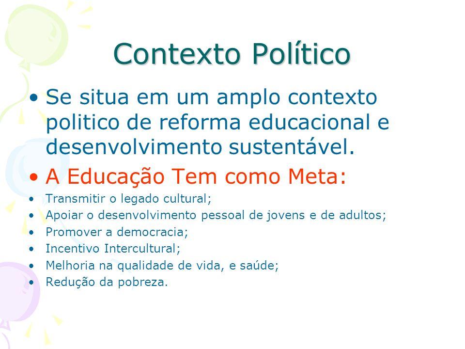 Contexto Político Se situa em um amplo contexto politico de reforma educacional e desenvolvimento sustentável.