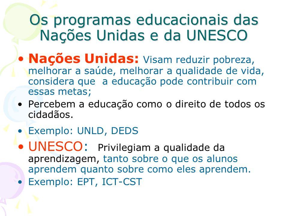 Os programas educacionais das Nações Unidas e da UNESCO