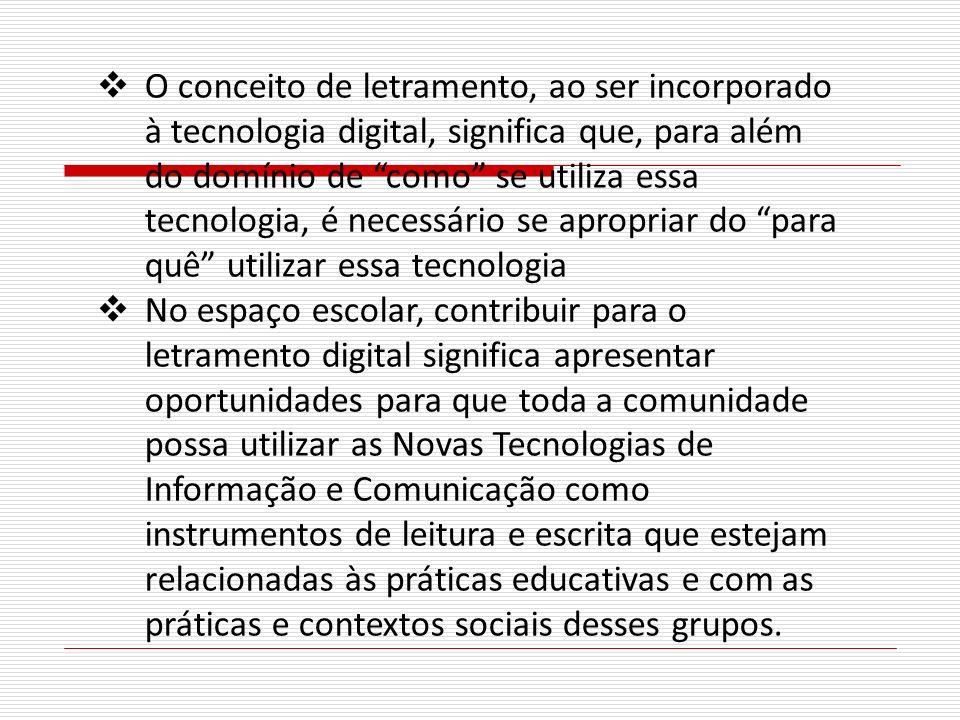 O conceito de letramento, ao ser incorporado à tecnologia digital, significa que, para além do domínio de como se utiliza essa tecnologia, é necessário se apropriar do para quê utilizar essa tecnologia