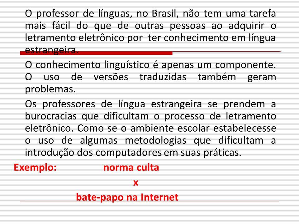 O professor de línguas, no Brasil, não tem uma tarefa mais fácil do que de outras pessoas ao adquirir o letramento eletrônico por ter conhecimento em língua estrangeira.