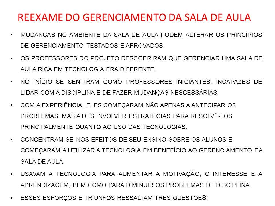 REEXAME DO GERENCIAMENTO DA SALA DE AULA