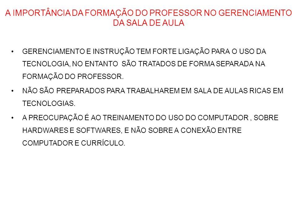 A IMPORTÂNCIA DA FORMAÇÃO DO PROFESSOR NO GERENCIAMENTO DA SALA DE AULA