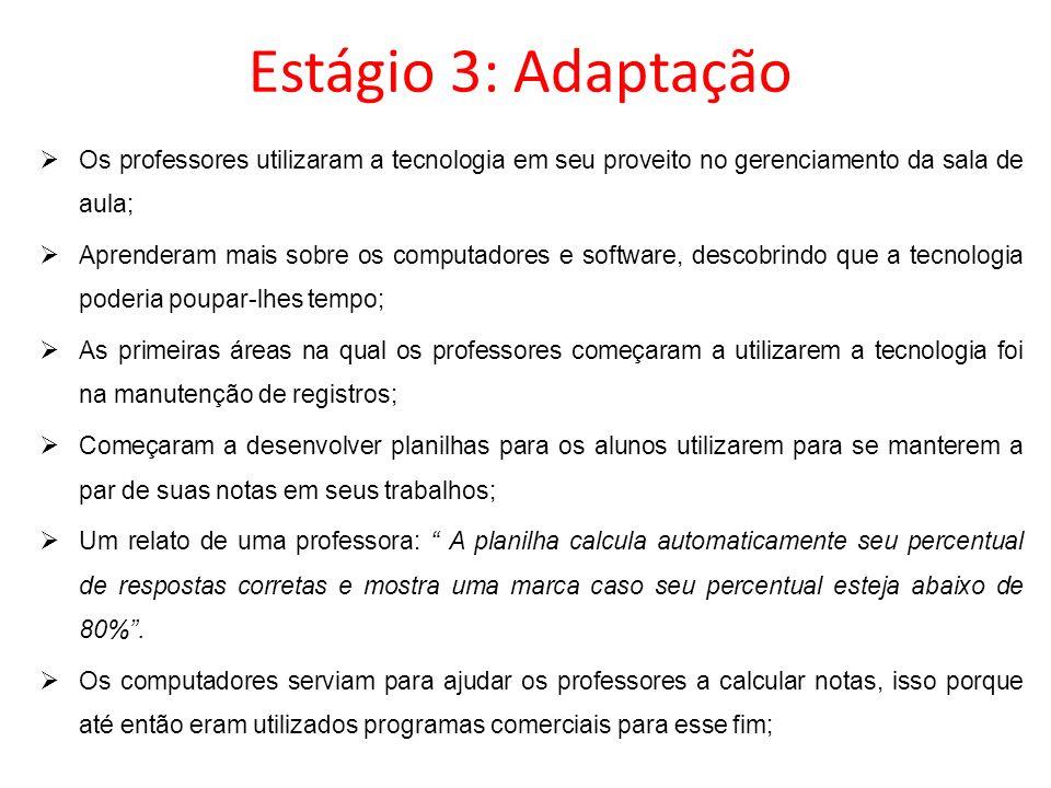 Estágio 3: Adaptação Os professores utilizaram a tecnologia em seu proveito no gerenciamento da sala de aula;
