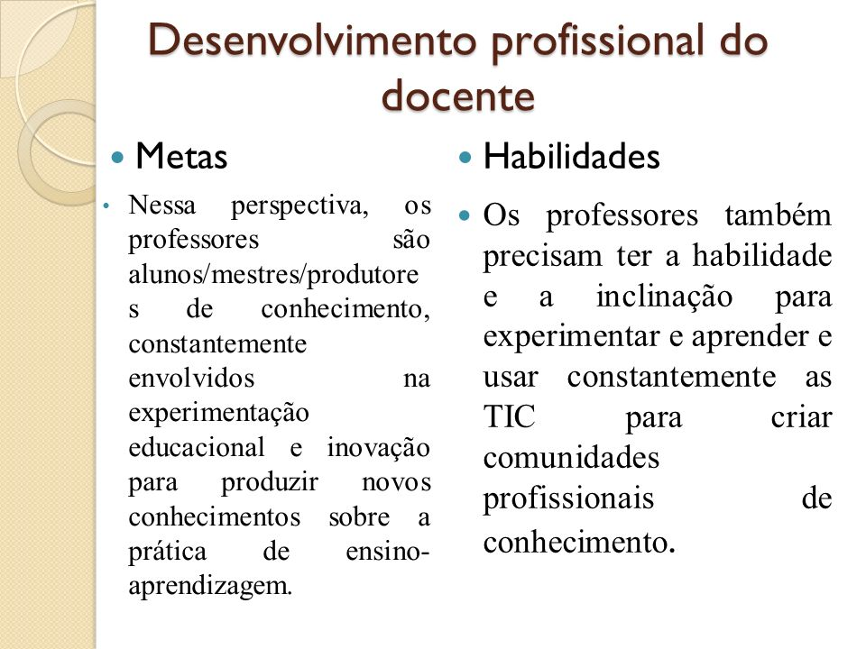 Desenvolvimento profissional do docente