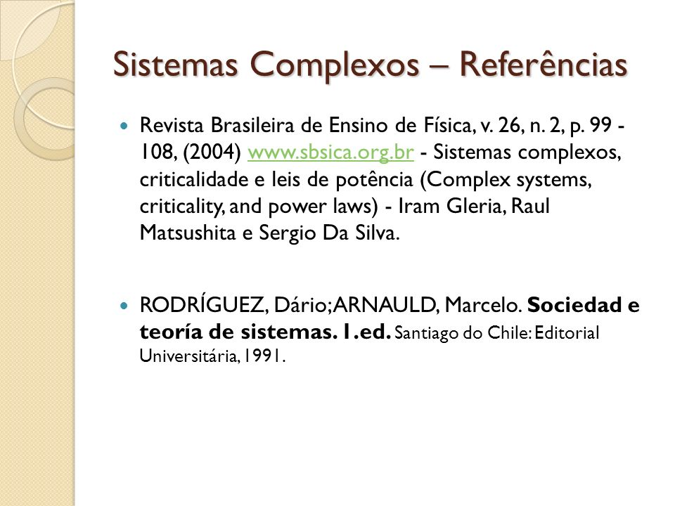 Sistemas Complexos – Referências