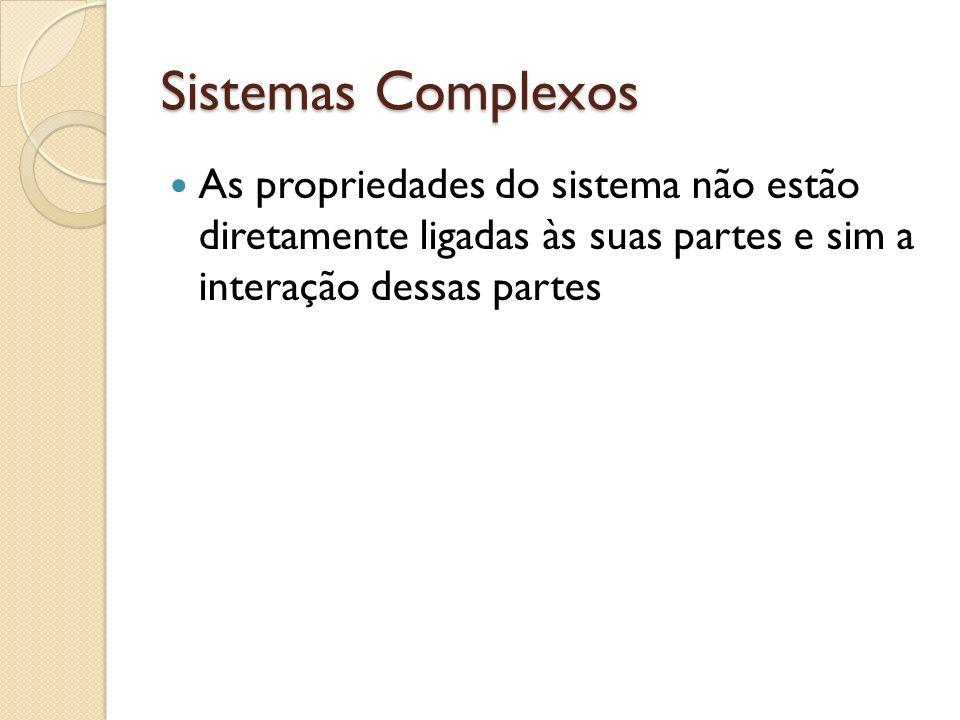 Sistemas Complexos As propriedades do sistema não estão diretamente ligadas às suas partes e sim a interação dessas partes.