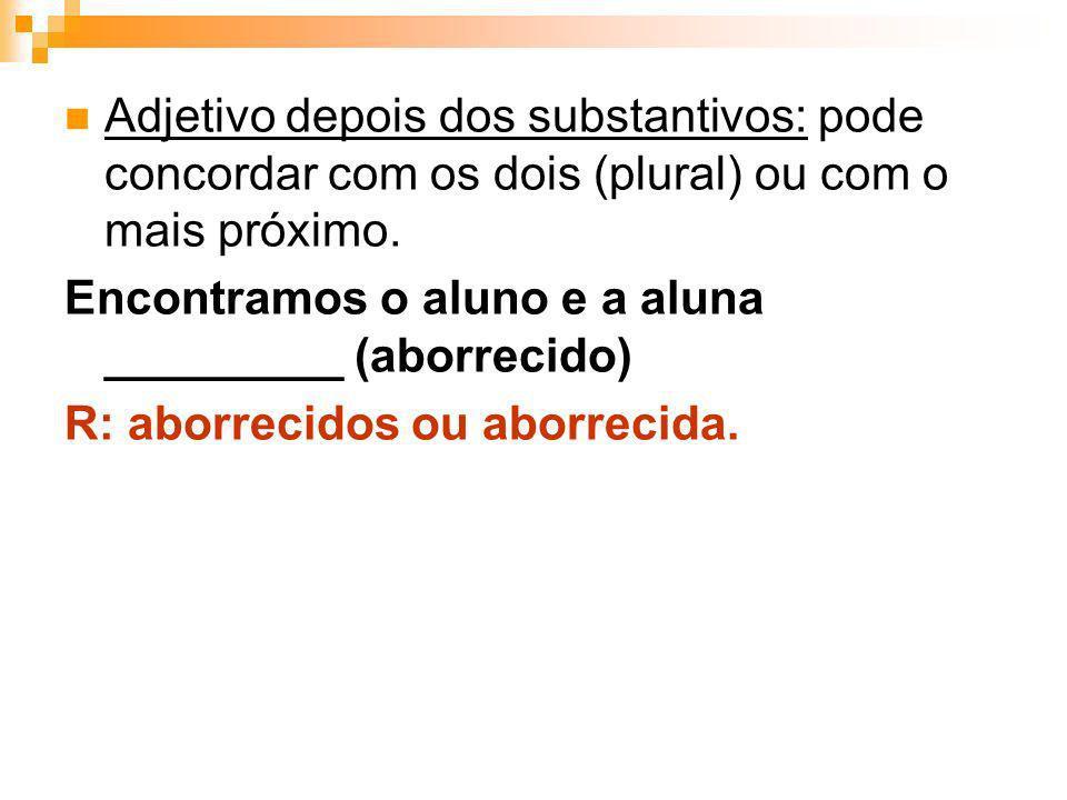 Adjetivo depois dos substantivos: pode concordar com os dois (plural) ou com o mais próximo.