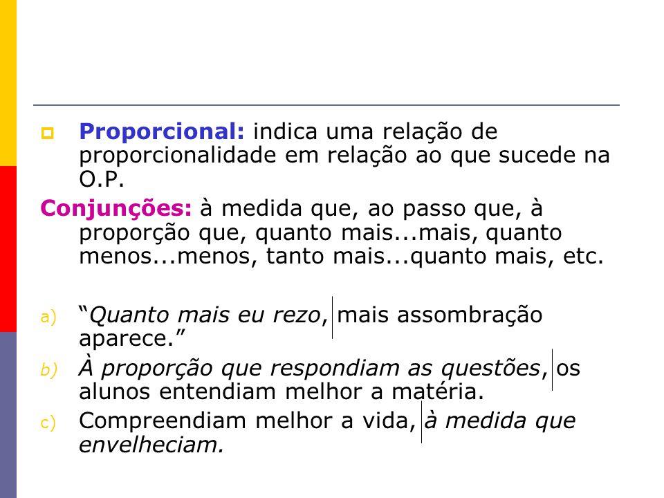 Proporcional: indica uma relação de proporcionalidade em relação ao que sucede na O.P.