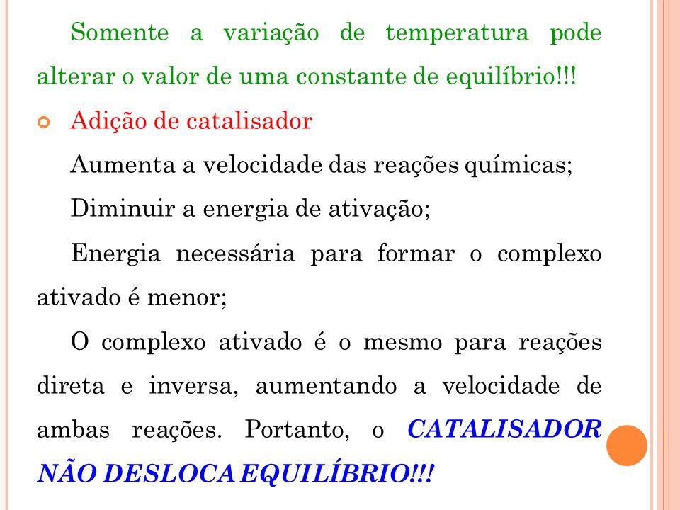 Somente a variação de temperatura pode alterar o valor de uma constante de equilíbrio!!!