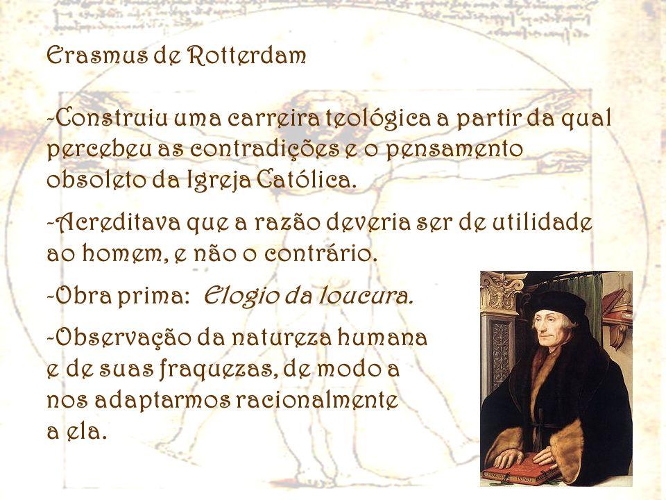 Erasmus de RotterdamConstruiu uma carreira teológica a partir da qual percebeu as contradições e o pensamento obsoleto da Igreja Católica.
