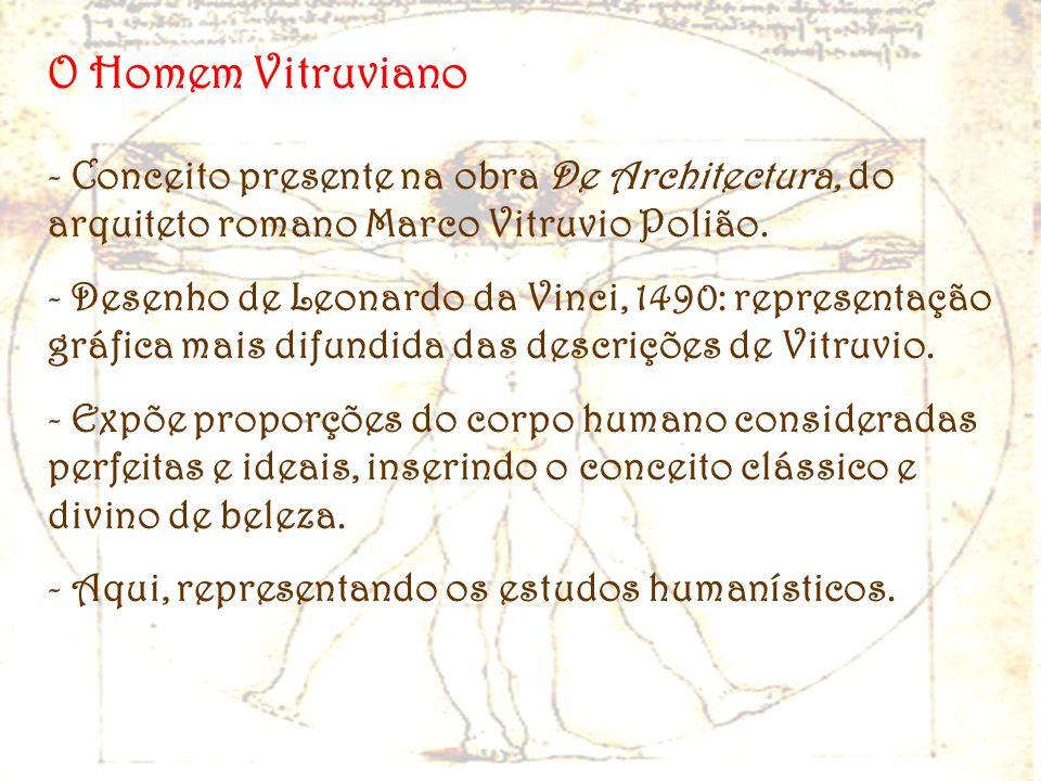 O Homem Vitruviano Conceito presente na obra De Architectura, do arquiteto romano Marco Vitruvio Polião.