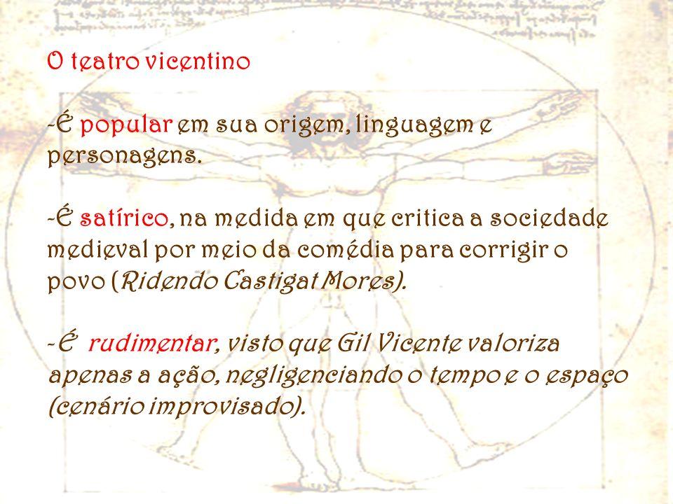 O teatro vicentinoÉ popular em sua origem, linguagem e personagens.