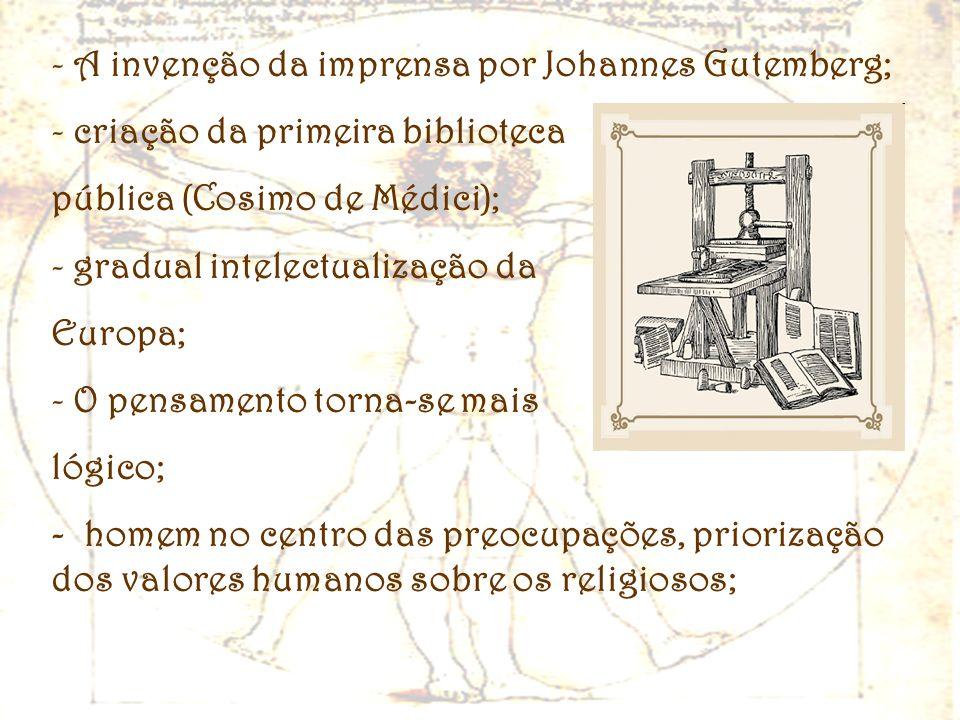 A invenção da imprensa por Johannes Gutemberg;