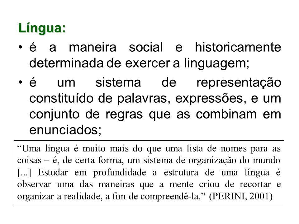 Língua: é a maneira social e historicamente determinada de exercer a linguagem;