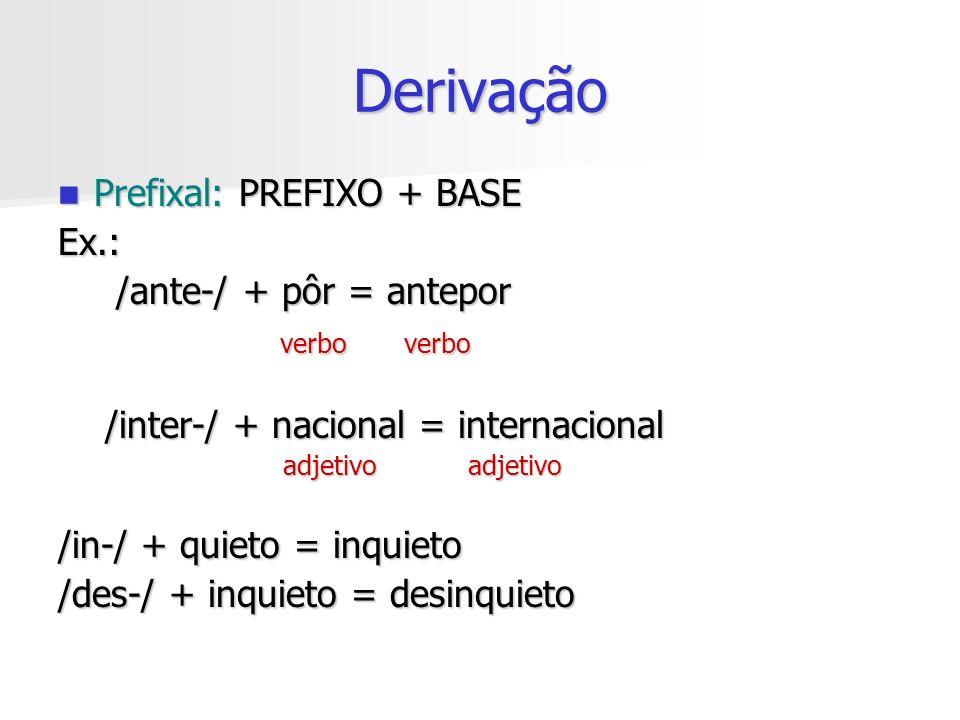 Derivação Prefixal: PREFIXO + BASE Ex.: /ante-/ + pôr = antepor