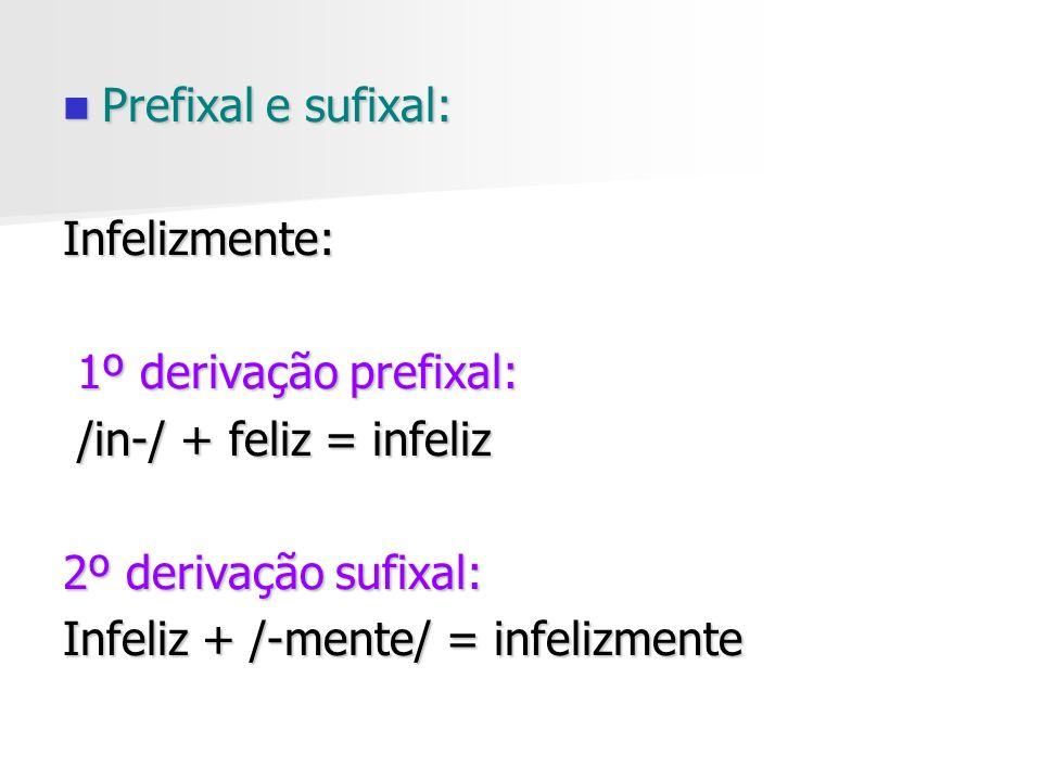 Prefixal e sufixal: Infelizmente: 1º derivação prefixal: /in-/ + feliz = infeliz. 2º derivação sufixal: