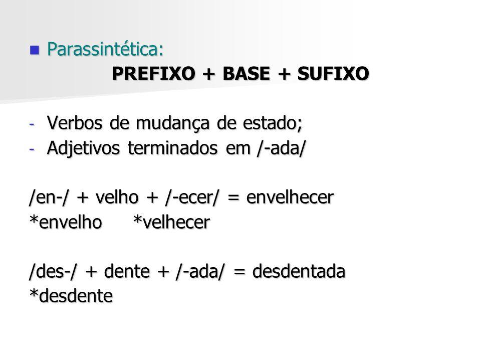 Parassintética: PREFIXO + BASE + SUFIXO. Verbos de mudança de estado; Adjetivos terminados em /-ada/
