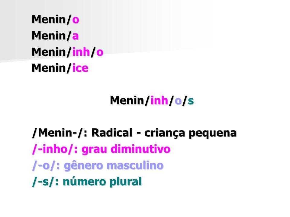 Menin/o Menin/a. Menin/inh/o. Menin/ice. Menin/inh/o/s. /Menin-/: Radical - criança pequena. /-inho/: grau diminutivo.
