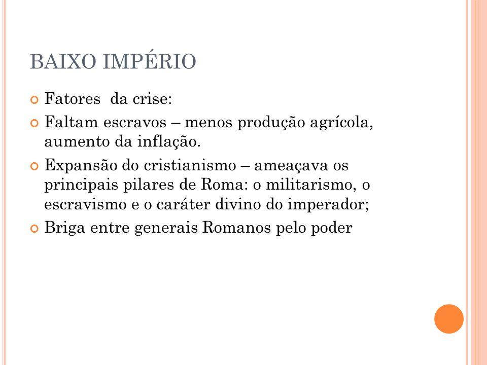 BAIXO IMPÉRIO Fatores da crise: