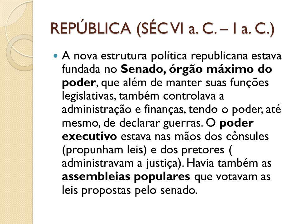 REPÚBLICA (SÉC VI a. C. – I a. C.)