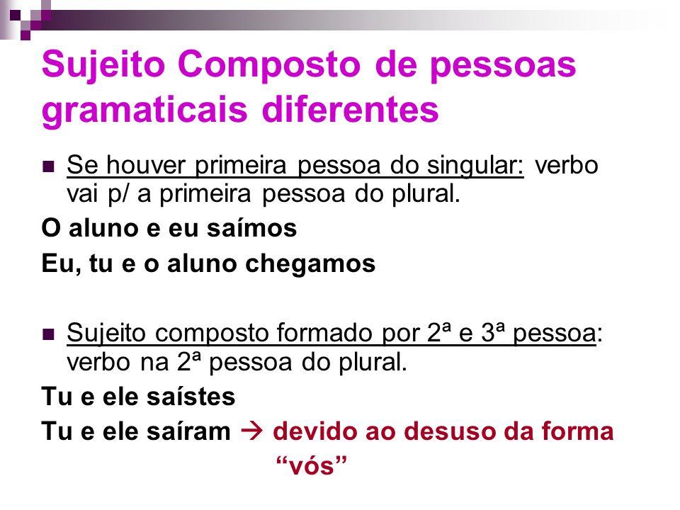 Sujeito Composto de pessoas gramaticais diferentes