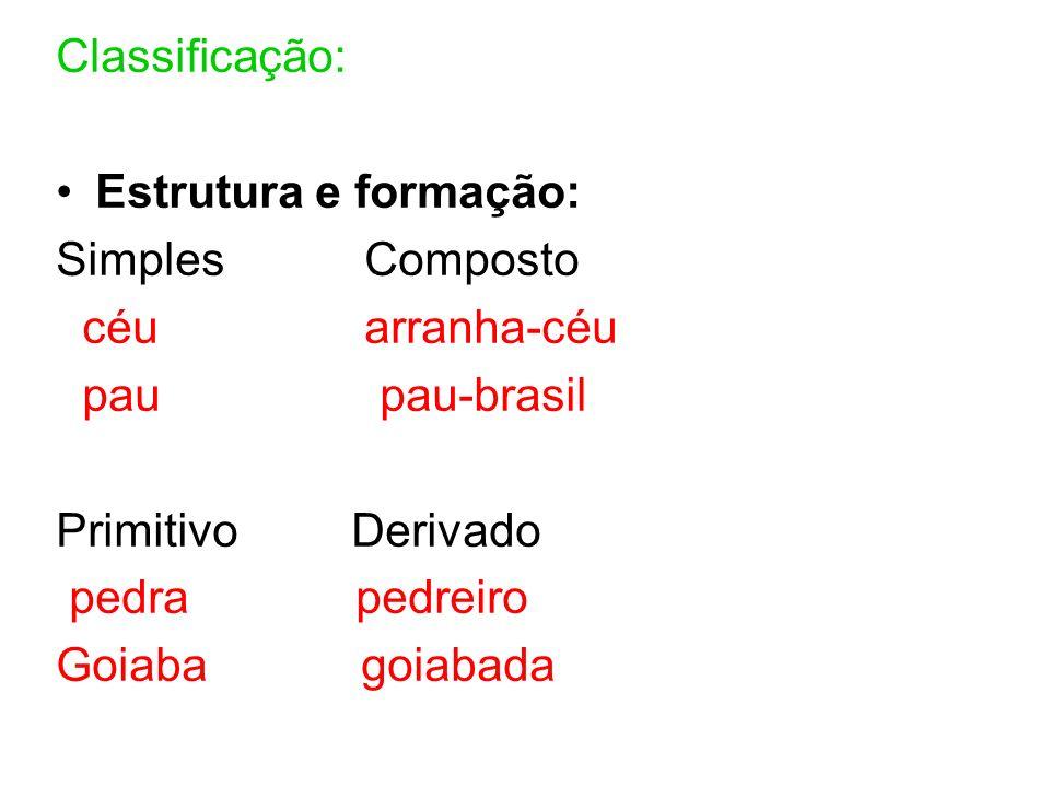 Classificação: Estrutura e formação: Simples Composto. céu arranha-céu. pau pau-brasil.