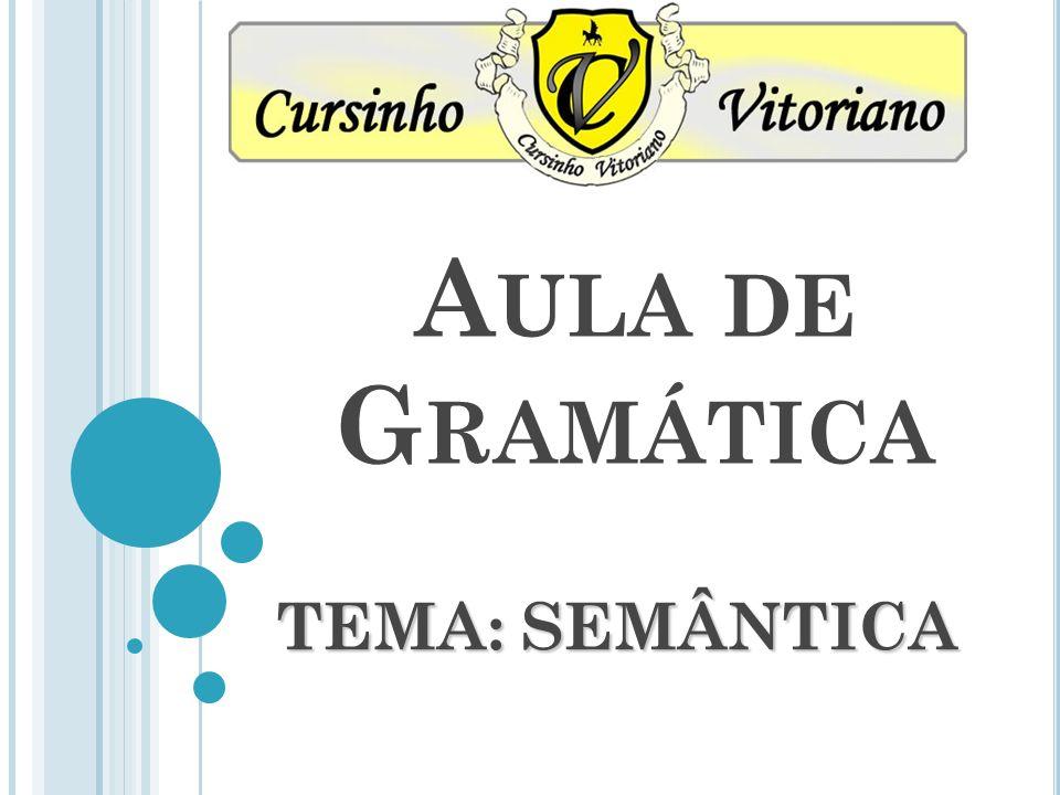 Aula de Gramática TEMA: SEMÂNTICA