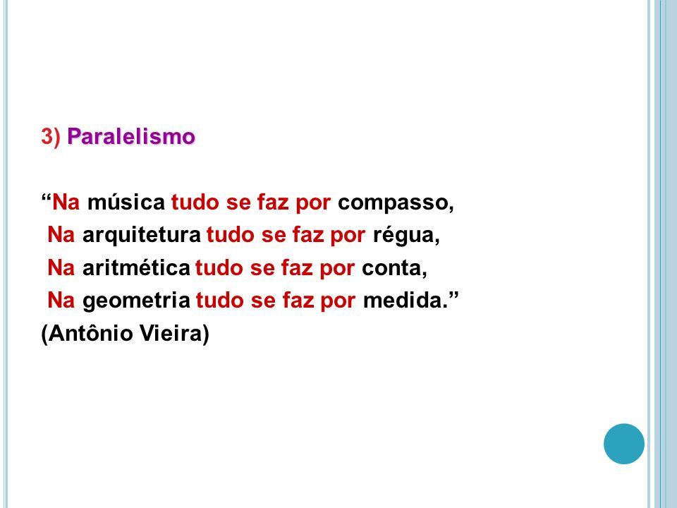 3) Paralelismo Na música tudo se faz por compasso, Na arquitetura tudo se faz por régua, Na aritmética tudo se faz por conta, Na geometria tudo se faz por medida. (Antônio Vieira)