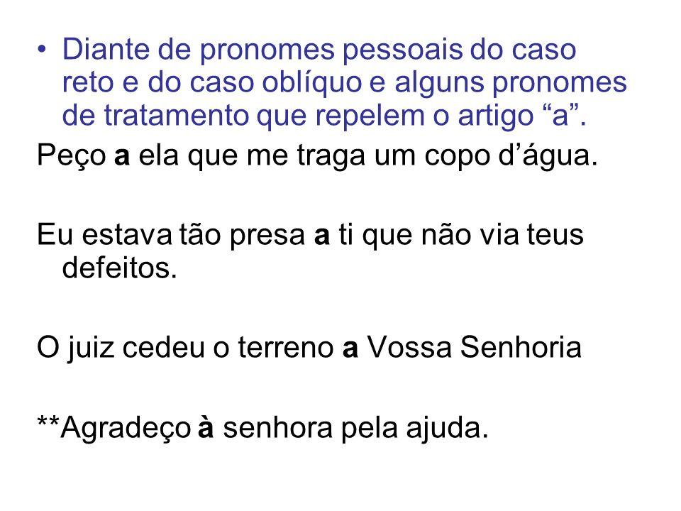 Diante de pronomes pessoais do caso reto e do caso oblíquo e alguns pronomes de tratamento que repelem o artigo a .