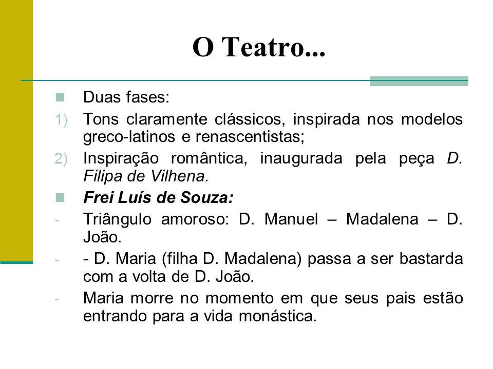 O Teatro... Duas fases: Tons claramente clássicos, inspirada nos modelos greco-latinos e renascentistas;