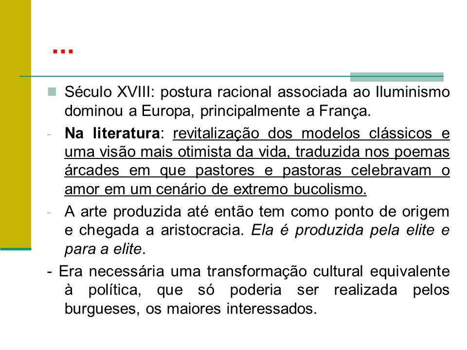... Século XVIII: postura racional associada ao Iluminismo dominou a Europa, principalmente a França.