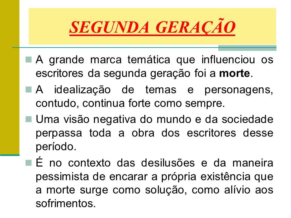 SEGUNDA GERAÇÃO A grande marca temática que influenciou os escritores da segunda geração foi a morte.