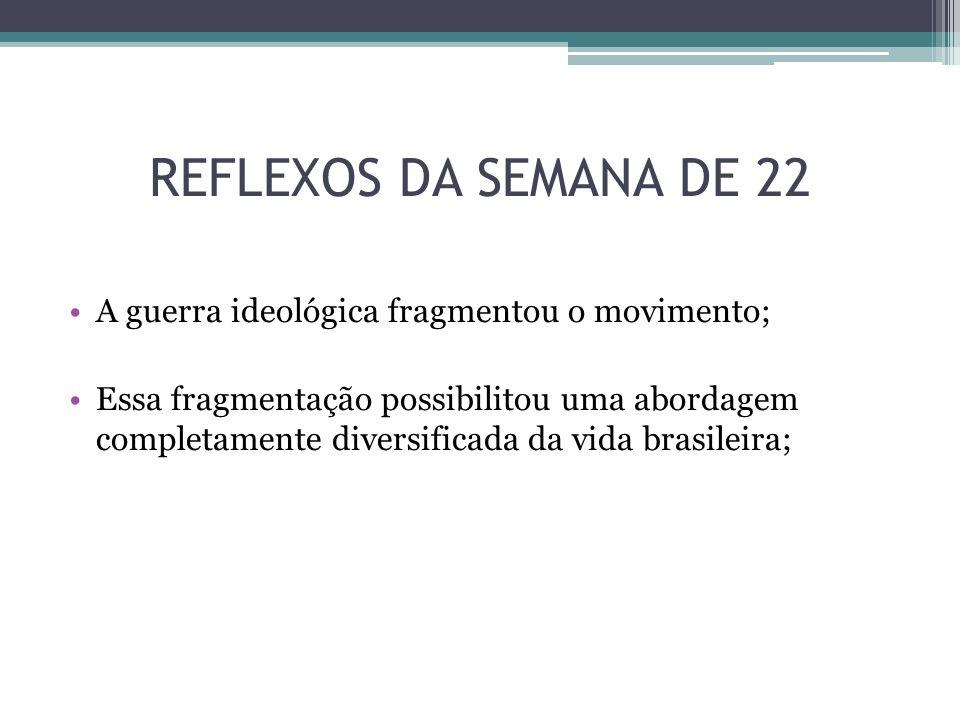 REFLEXOS DA SEMANA DE 22 A guerra ideológica fragmentou o movimento;