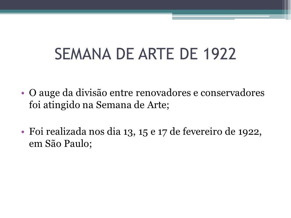 SEMANA DE ARTE DE 1922 O auge da divisão entre renovadores e conservadores foi atingido na Semana de Arte;