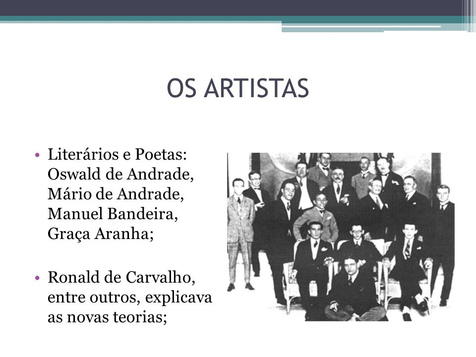 OS ARTISTAS Literários e Poetas: Oswald de Andrade, Mário de Andrade, Manuel Bandeira, Graça Aranha;